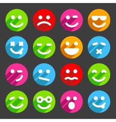 Flat and round smiley icons for your design vector image