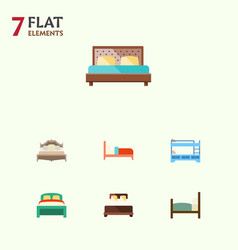 Flat bed set of furniture hostel mattress and vector