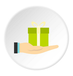 Gift box in hand icon circle vector
