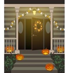 Halloween decorated front door vector