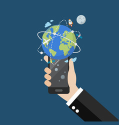 Hand holding smartphone with global network vector
