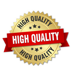 High quality 3d gold badge with red ribbon vector