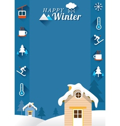 Houses with winter icons frame vector