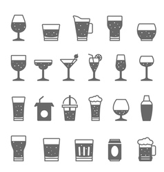 Icon set - glass and beverage vector image