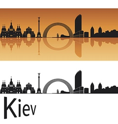 Kiev skyline in orange background vector image vector image