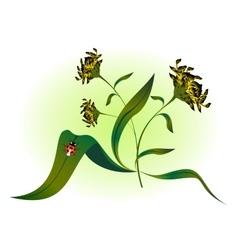 Ladybug on yellow flower EPS10 vector image