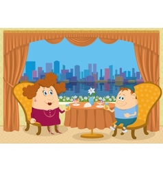 Mother and son in Restaurant vector image vector image