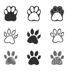 Paw icon set vector