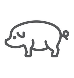 Pig line icon farming and agriculture pork meat vector