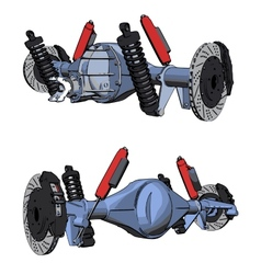 Rear axle assembly with suspension and brakes vector