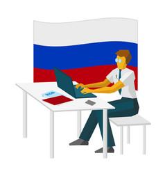 Russian computer hacker working with laptop vector