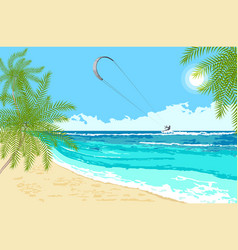 Seaside landscape with sea kite vector
