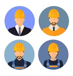 Set of avatars of the builders builders vector