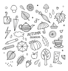 set of different hand drawn autumn elements vector image