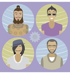 Set of four cartoon avatars - men 01 vector image vector image