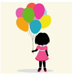 Silhouette girl with balloons vector