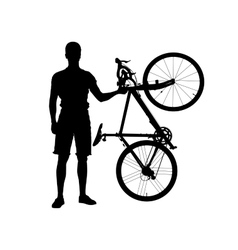 Silhouette of man with bicycle vector