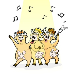 singing cows vector image vector image