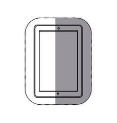 Sticker silhouette tech tablet with camera icon vector