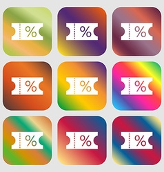 Ticket discount icon sign nine buttons with vector