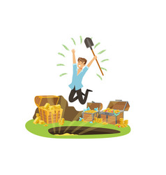 Treasure seeker jumping with joy vector