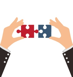 Two business hands combining two pieces of puzzle vector