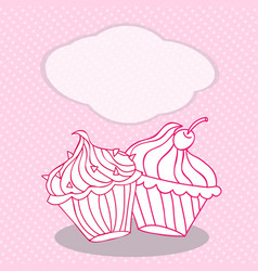 vintage greeting card template with cupcake for vector image vector image