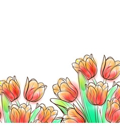 Watercolor tulips vector
