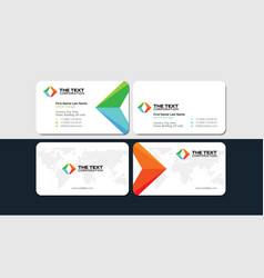 White business card with colored arrows vector