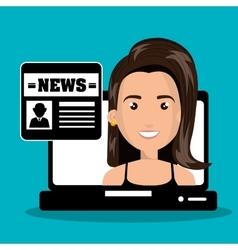 Woman avatar news icon design vector