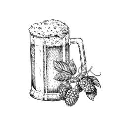 Beer glass mug with hop sketch vector