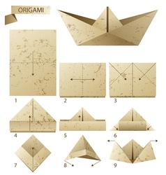 Origami ship vector