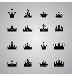Collection of many different crowns vector