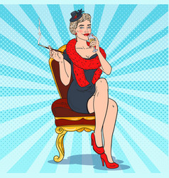Pop art smoking woman with glass of champagne vector