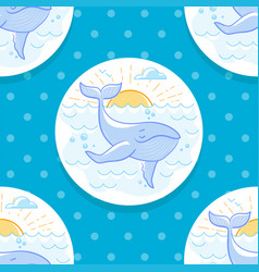 background with a whale in the sea vector image