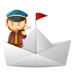 Captain and paper boat vector