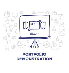 Creative of big tripod screen with line icons and vector