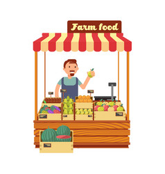 Fruit and vegetable market shop stand with happy vector