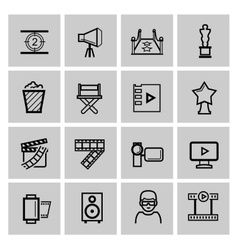 Black movie icon set vector