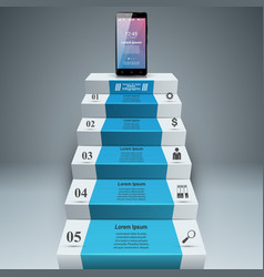 3d infographic smartphone ladder step icon vector