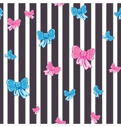 Seamless striped pattern with bows vector
