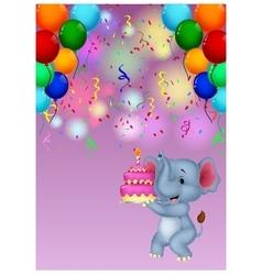 Elephant cartoon holding birthday cake vector