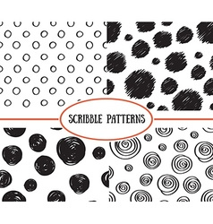 Set of stylish hand drawn polka dot seamless vector