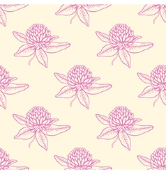 Seamless pattern with pink clover flowers vector image