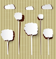 Paper cut trees and clouds on cardboard background vector