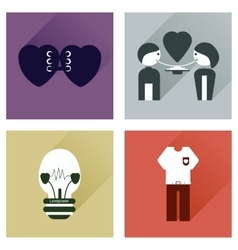 Set of flat icons with long shadow love icons vector