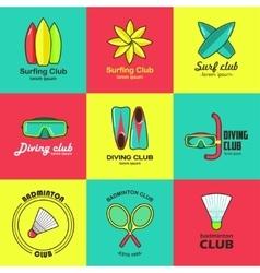Summer activity set of flat logos vector