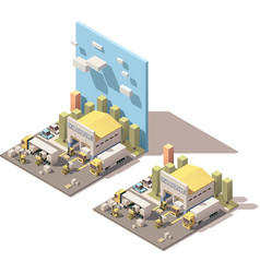 Isometric warehouse building icon with vector