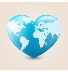 Earth heart vector image