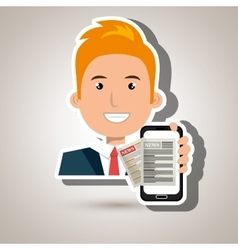 News online with smartphone isolated icon design vector